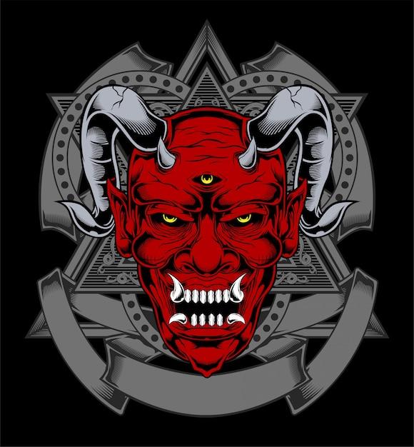 Cartone animato diavolo rosso satana o volto di demone lucifero con le corna Vettore Premium