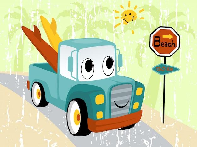 Cartone animato divertente camion con tavola da surf Vettore Premium