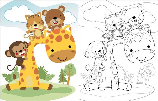 Cartone animato divertente con giraffa e piccoli amici Vettore Premium