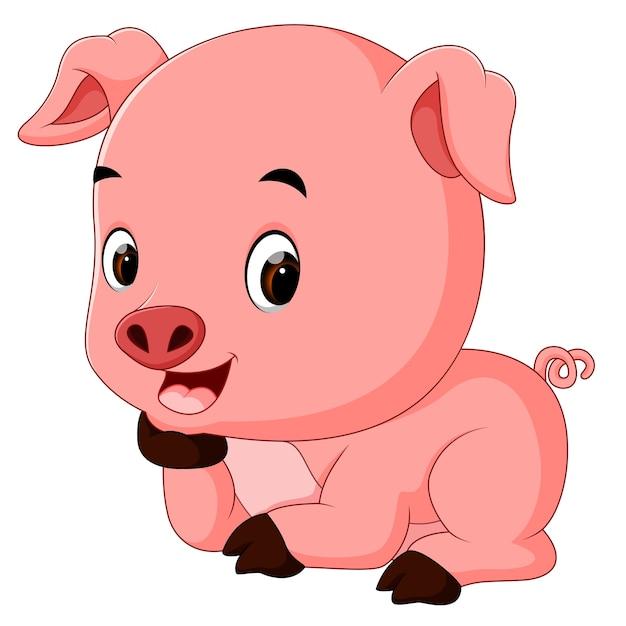 Cartone animato divertente maiale scaricare vettori premium