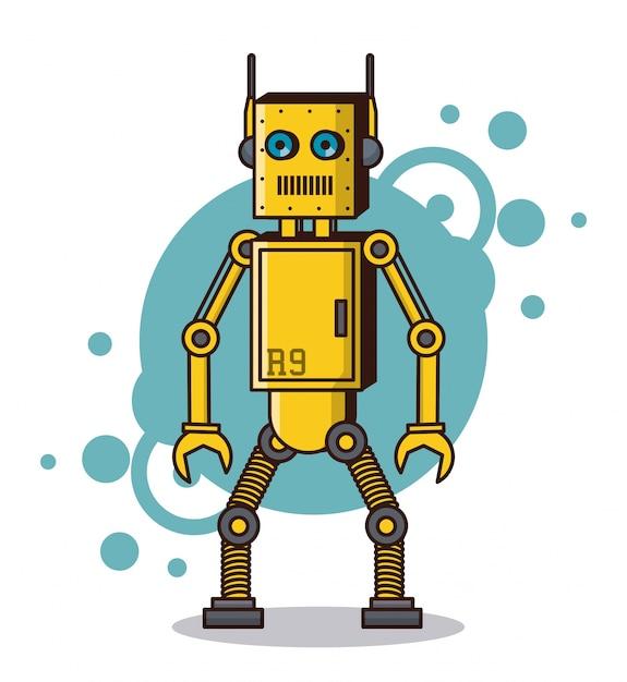 Cartone animato divertente robot scaricare vettori premium