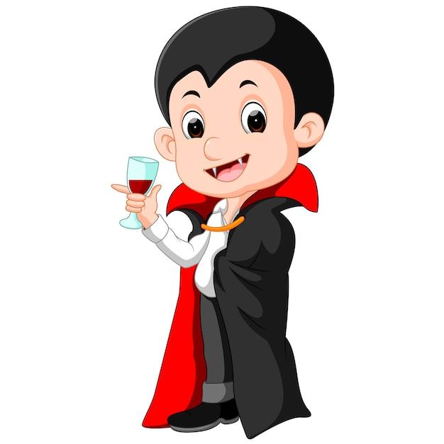 Cartone animato dracula con bicchiere di sangue scaricare
