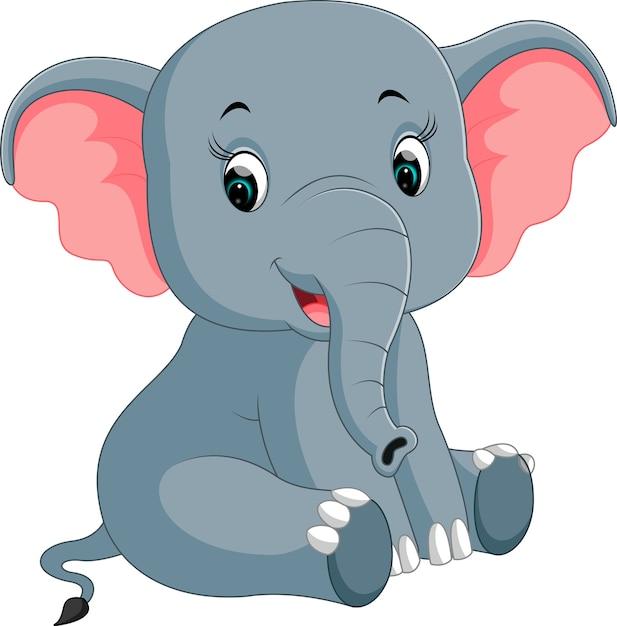 Cartone animato elefante carino scaricare vettori premium