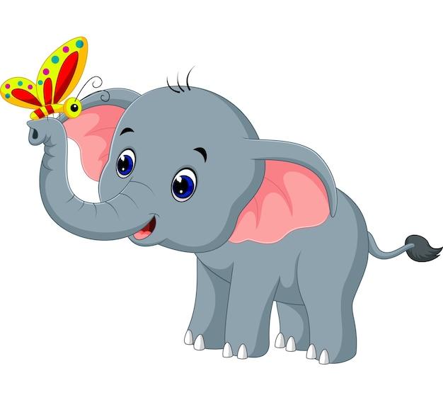 Cartone animato elefante e farfalla scaricare vettori premium