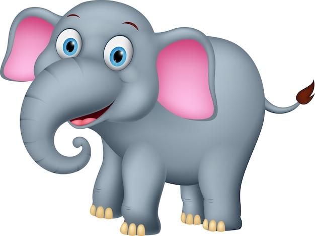 Cartone animato elefante felice scaricare vettori premium