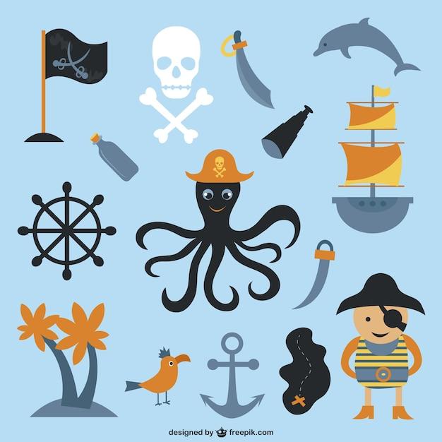 Cartone animato elementi pirata di raccolta scaricare