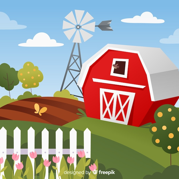 Cartone animato fattoria paesaggio sfondo Vettore gratuito