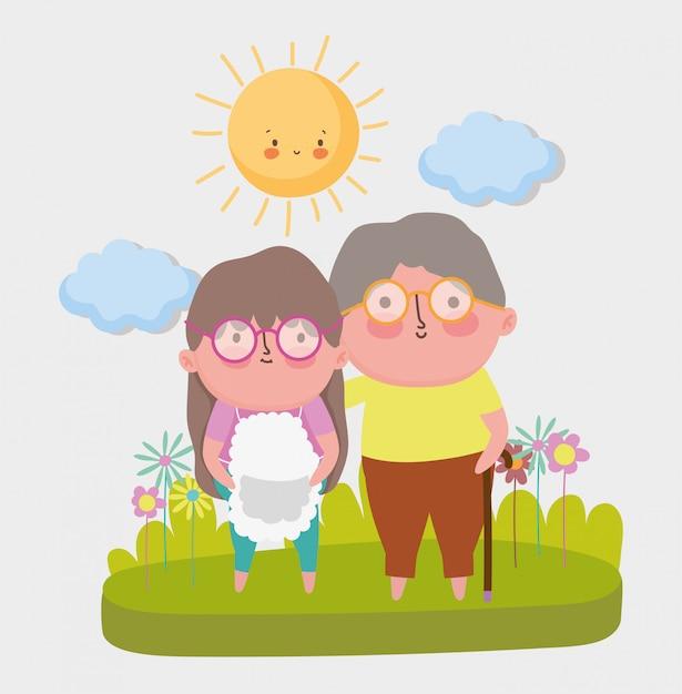 Cartone animato felice giorno dei nonni Vettore Premium