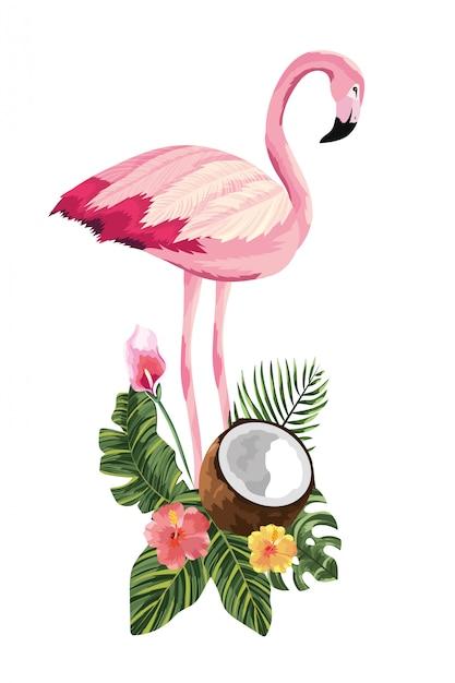 Cartone animato fenicottero tropicale Vettore Premium