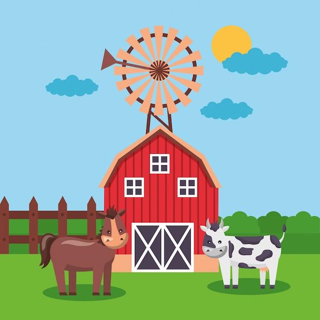 Cartone animato fresco di fattoria Vettore gratuito