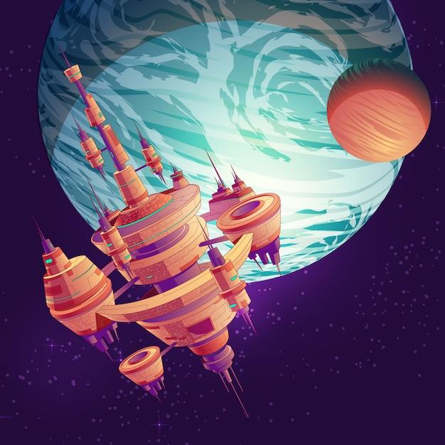 Cartone animato futuro esplorazione dello spazio profondo Vettore gratuito