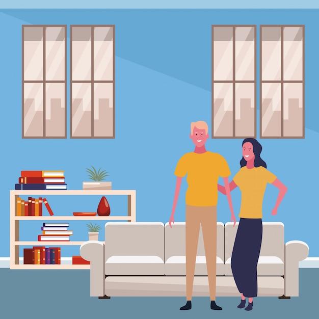 Cartone animato giovane coppia Vettore Premium