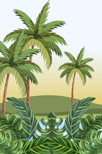 Cartone animato giungla tropicale Vettore Premium