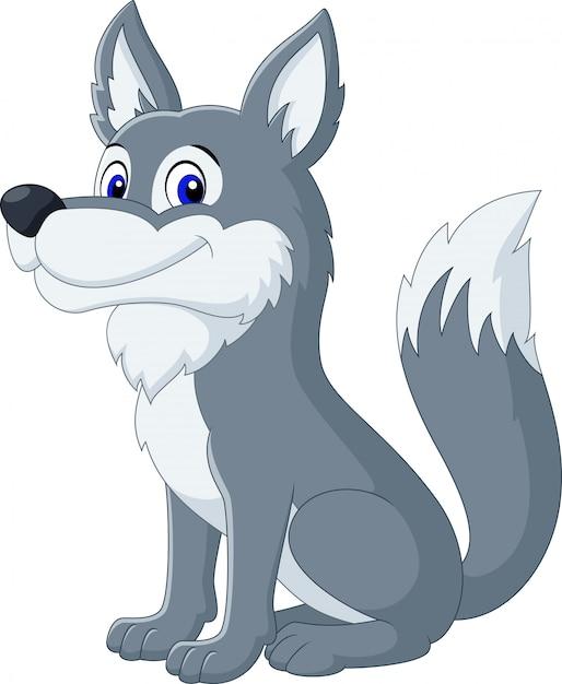 Cartone animato lupo carino Vettore Premium