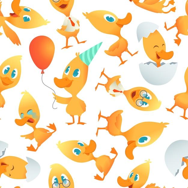 Cartone animato modello di anatre sfondo trasparente con uccelli divertenti dei cartoni animati Vettore Premium