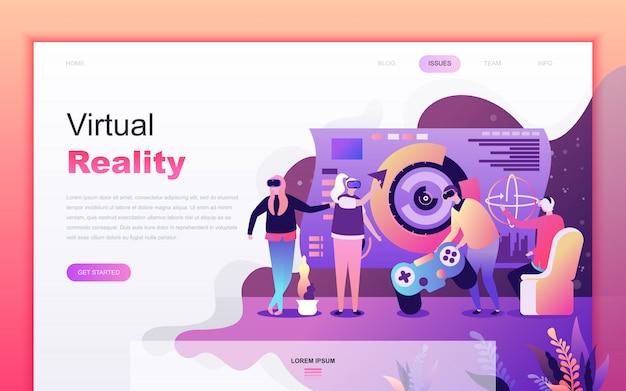 Cartone animato moderno piatto di realtà virtuale aumentata Vettore Premium