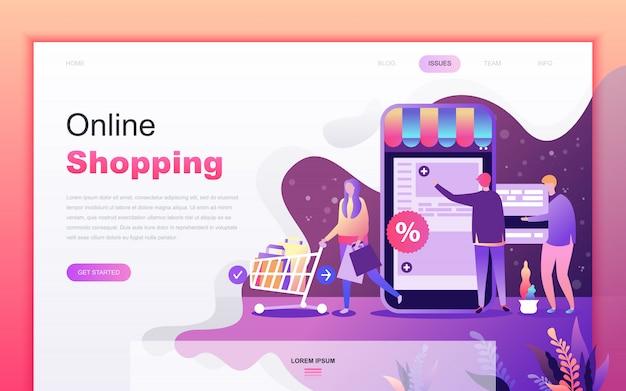 Cartone animato moderno piatto di shopping e e-commerce Vettore Premium