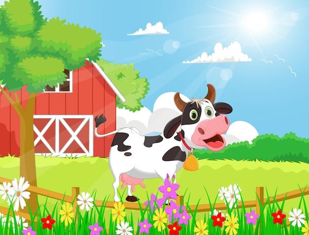 Animali da fattoria banner orizzontale dei cartoni animati