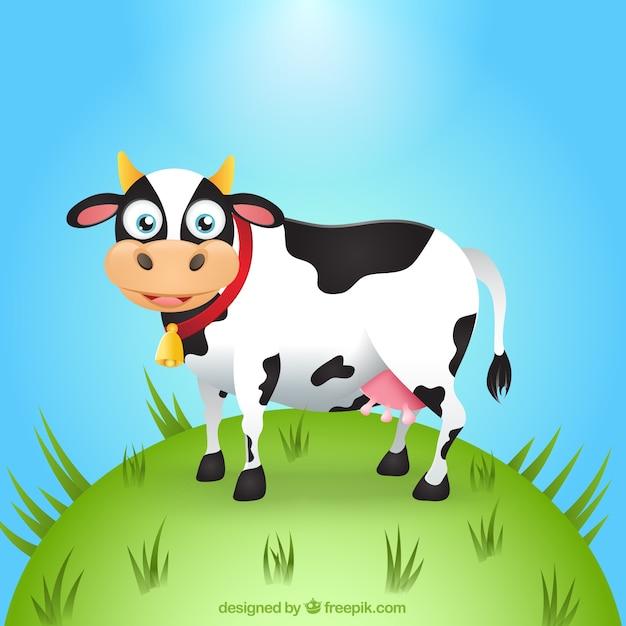 Cartone animato mucca divertente scaricare vettori premium