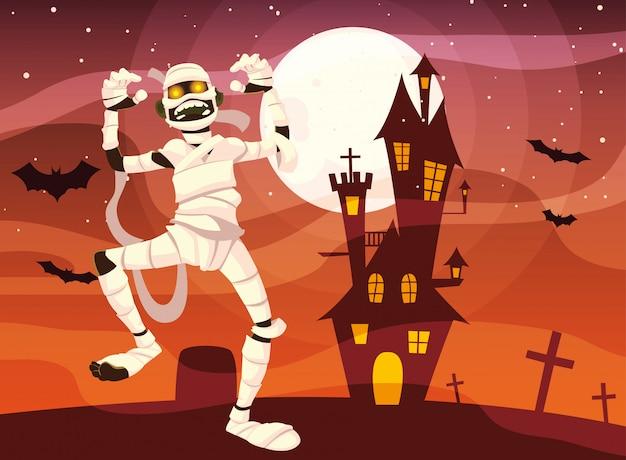 Cartone animato mummia di halloween Vettore Premium