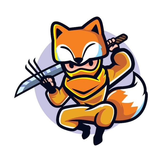 Cartone animato ninja fox Vettore Premium