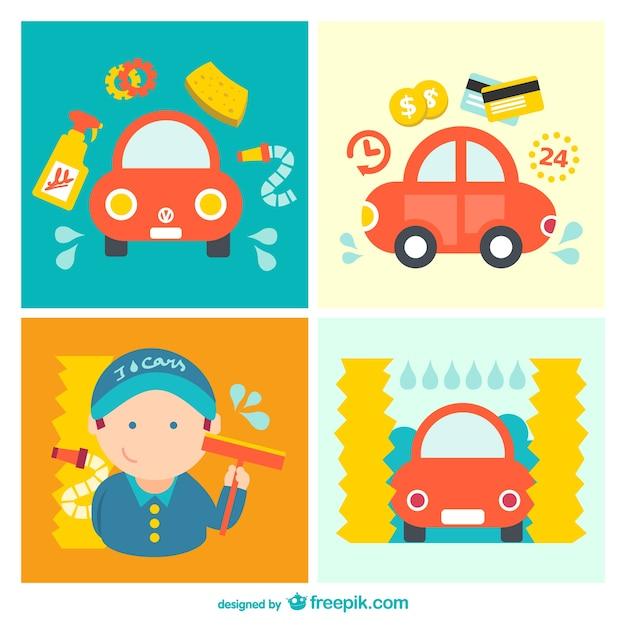 Cartone animato pacchetto lavaggio auto scaricare
