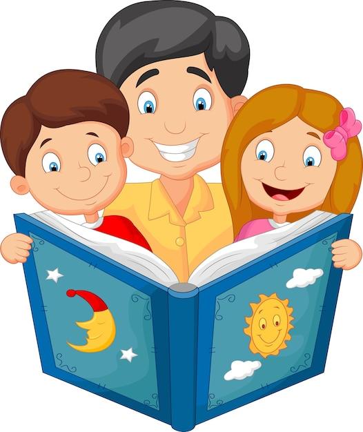 Cartone animato padre che legge con i suoi figli Vettore Premium