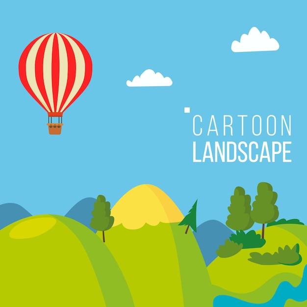 Cartone animato paesaggio di sfondo Vettore Premium