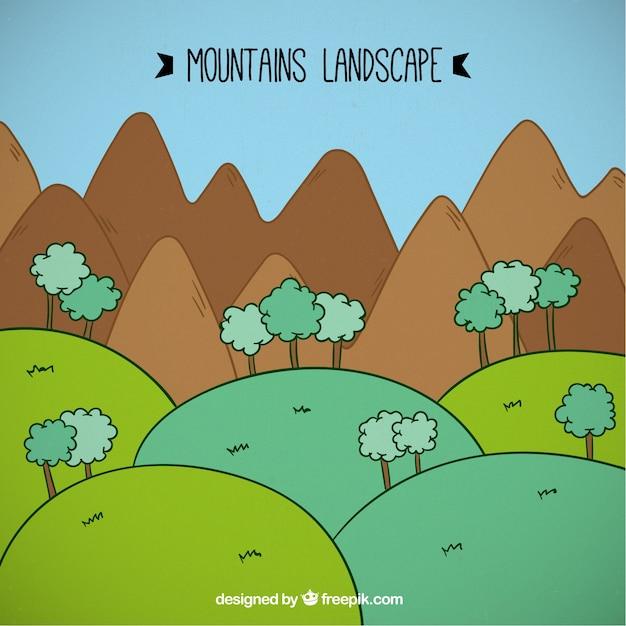 Cartone animato paesaggio montagne con l albero
