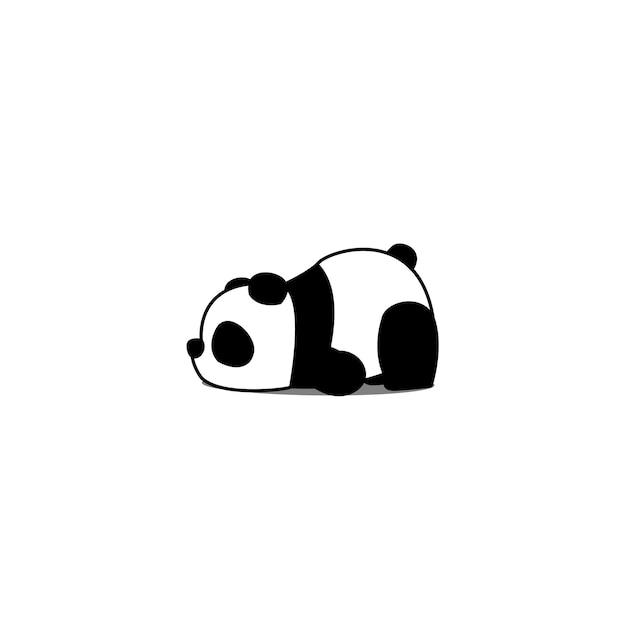 Cartone animato panda pigro Vettore Premium