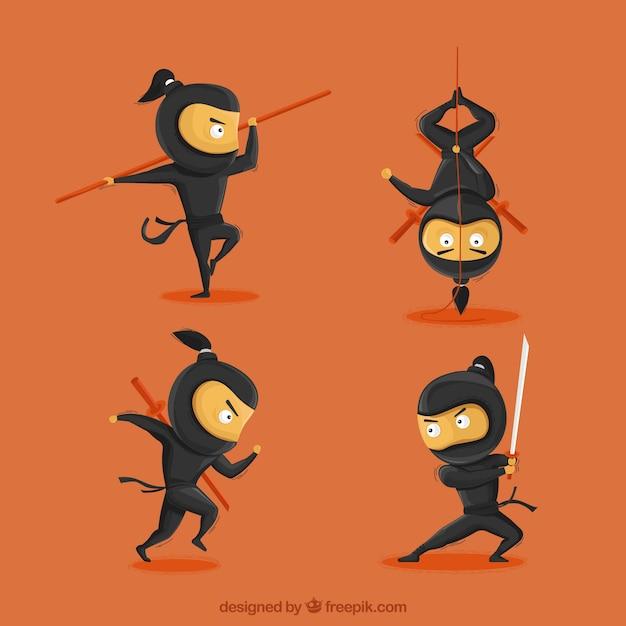 Cartone animato personaggio ninja in diverse pose scaricare