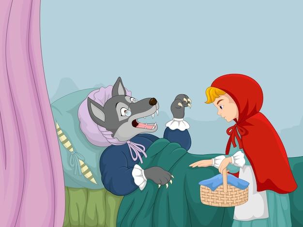 Cartone animato piccolo cappuccetto rosso e lupo scaricare