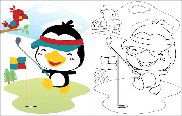 Cartone animato pinguino giocando a golf Vettore Premium
