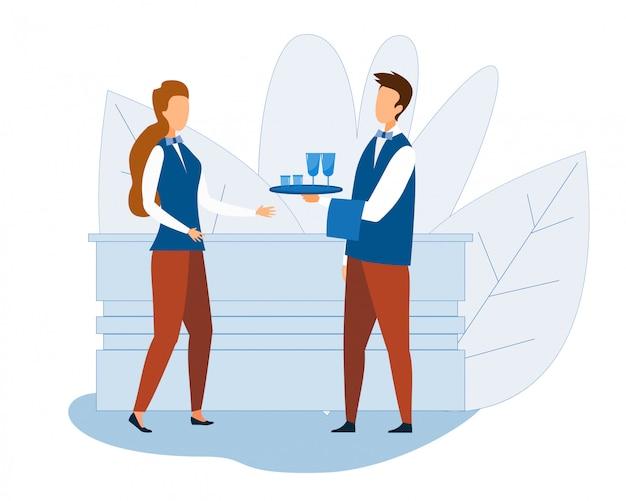 Cartone animato professionale cameriere e cameriera al lavoro Vettore Premium