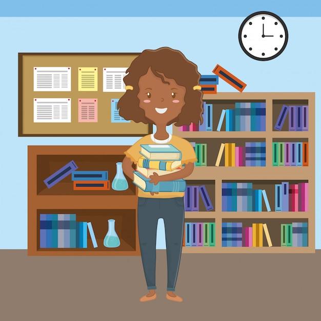 Cartone animato ragazza del design della scuola Vettore gratuito