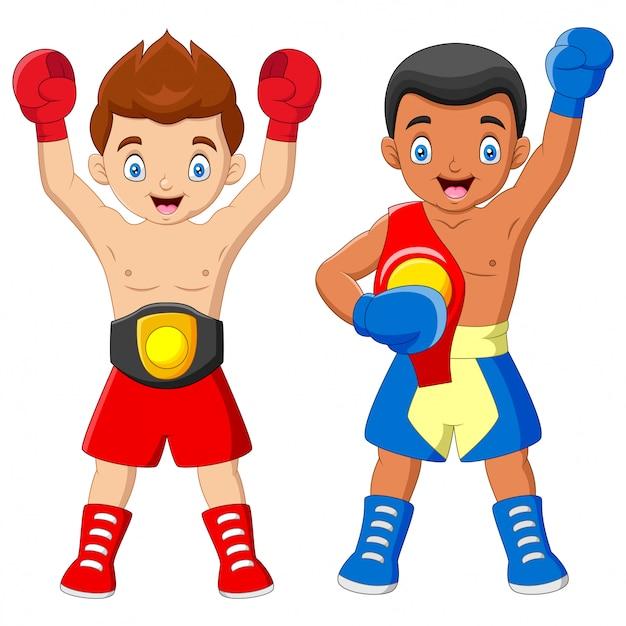 Cartone animato ragazzi del campionato di boxe Vettore Premium