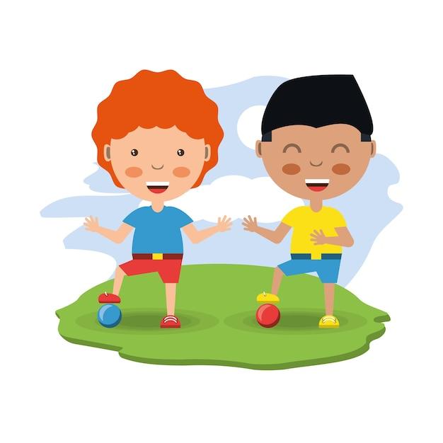 Cartone animato ragazzini felici con le palle scaricare vettori