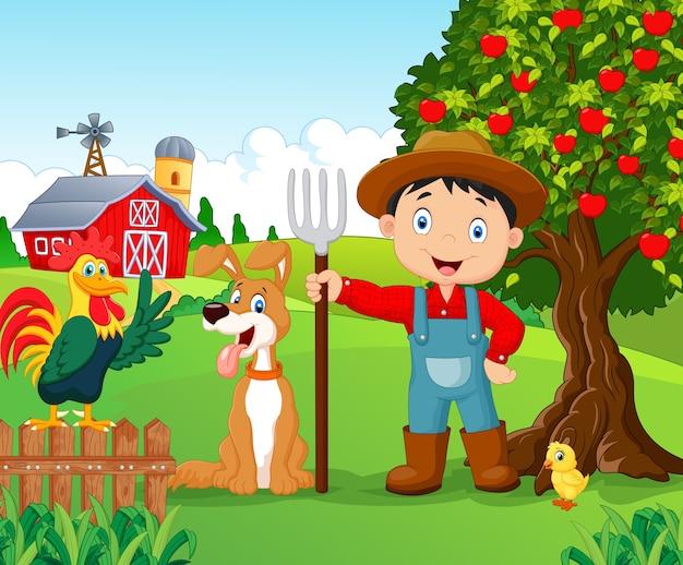 Illustrazione con animali fattoria e uccelli clipart