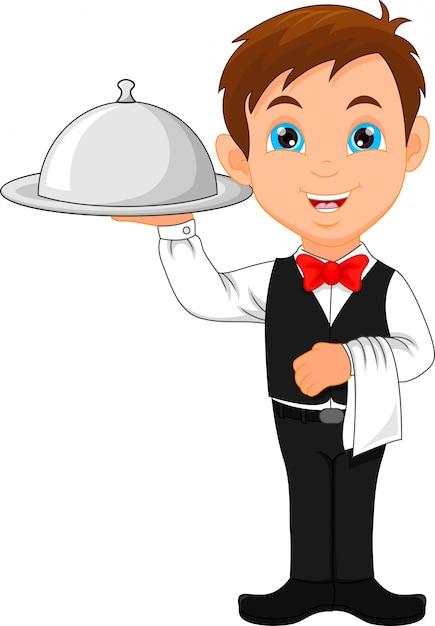 Cartone animato ragazzo cameriera e un set di piatti scaricare