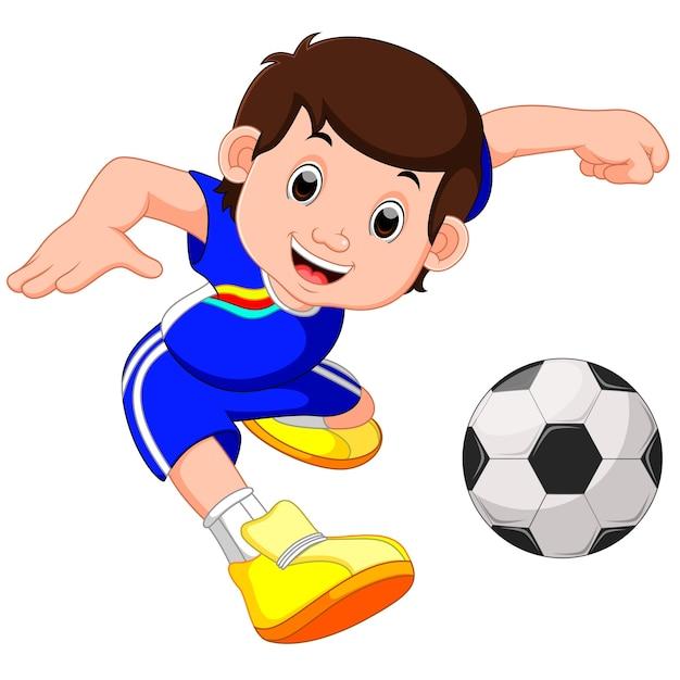 Cartone animato ragazzo giocando a calcio scaricare