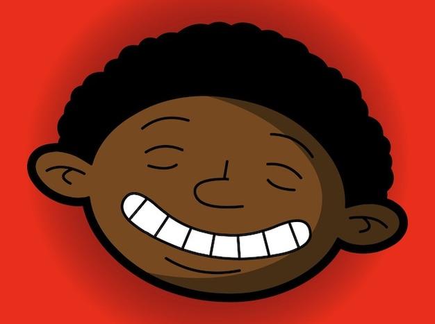 Cartone animato ritratto di un ragazzo colore