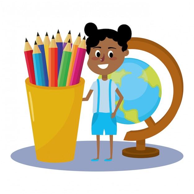 Cartone animato scuola elementare Vettore Premium