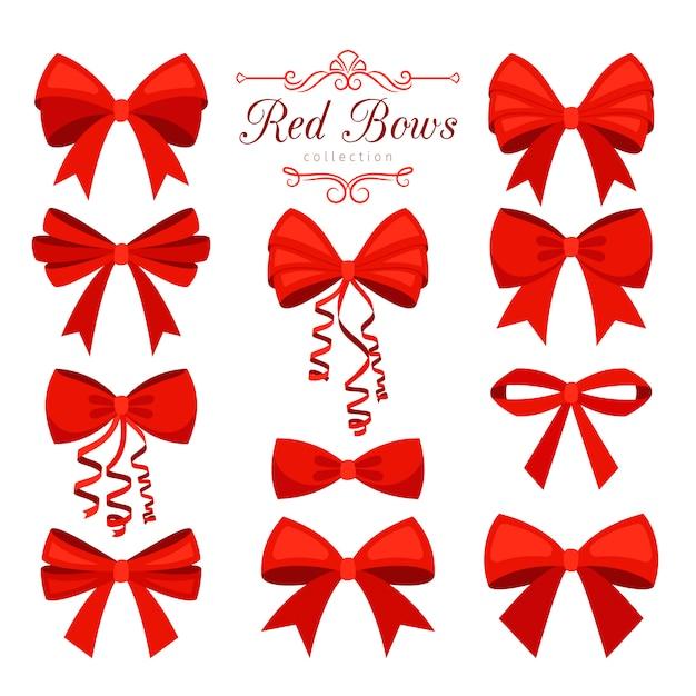 Cartone animato set fiocco rosso Vettore Premium