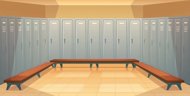 Cartone animato sfondo con file di armadietti individuali, spogliatoio vuoto con metallo chiuso Vettore gratuito