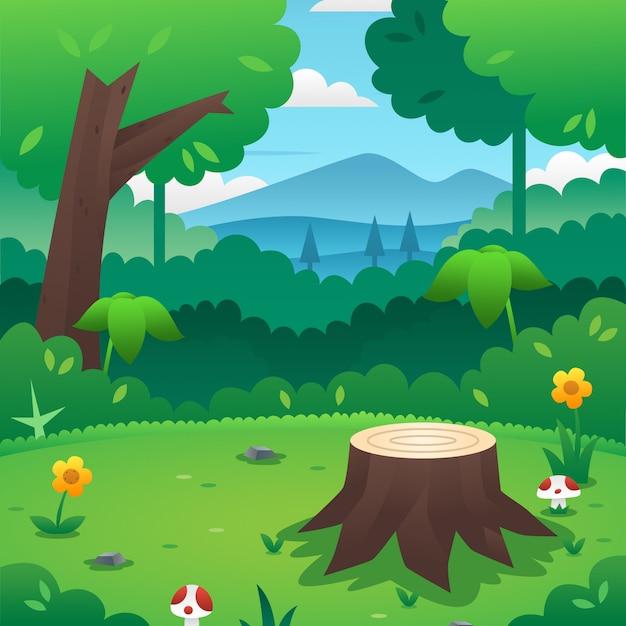 Cartone animato sfondo foresta Vettore Premium