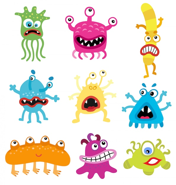 Cartone animato simpatici e divertenti pack di mostri e batteri Vettore Premium