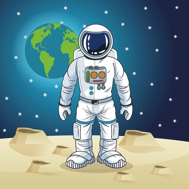 Cartone animato spazio astronauta scaricare vettori premium