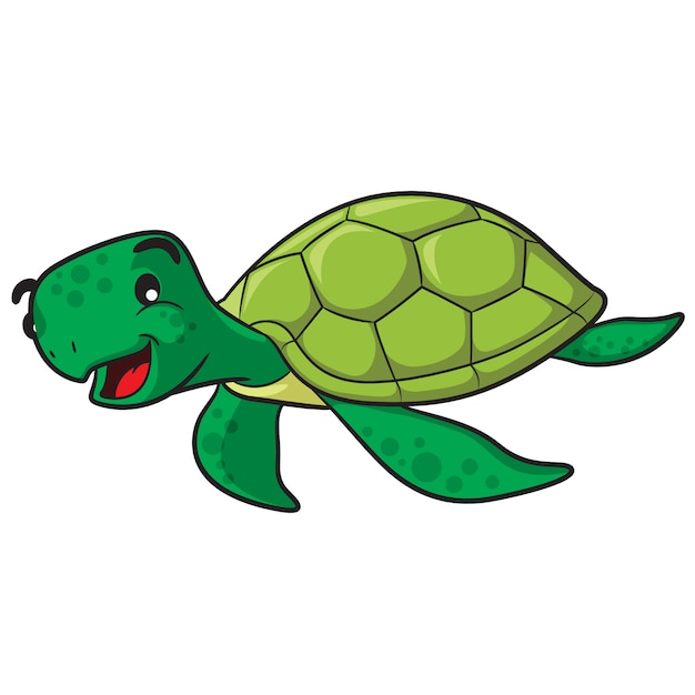Cartone animato tartaruga marina Vettore Premium