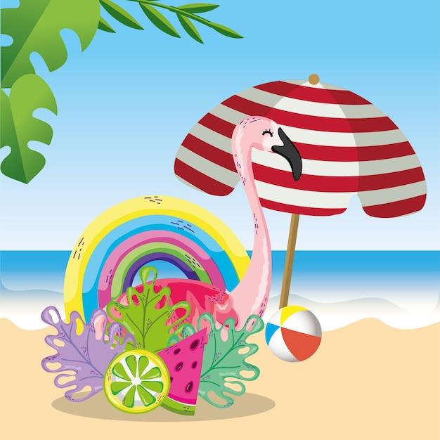 Cartone animato tema tropicale spiaggia scenario Vettore Premium