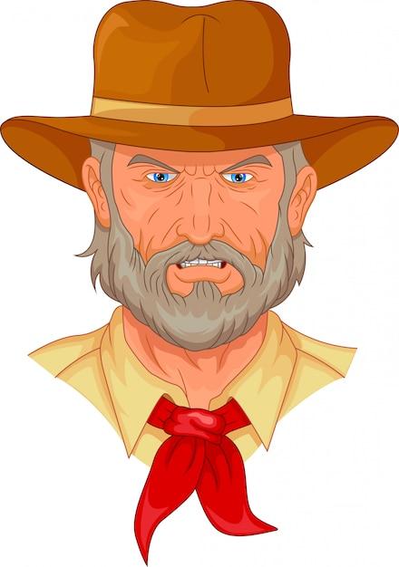 Cartone animato testa di cowboy Vettore Premium